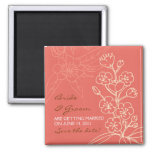 Botanica (Coral) Wedding Save the Date 2 Inch Square Magnet