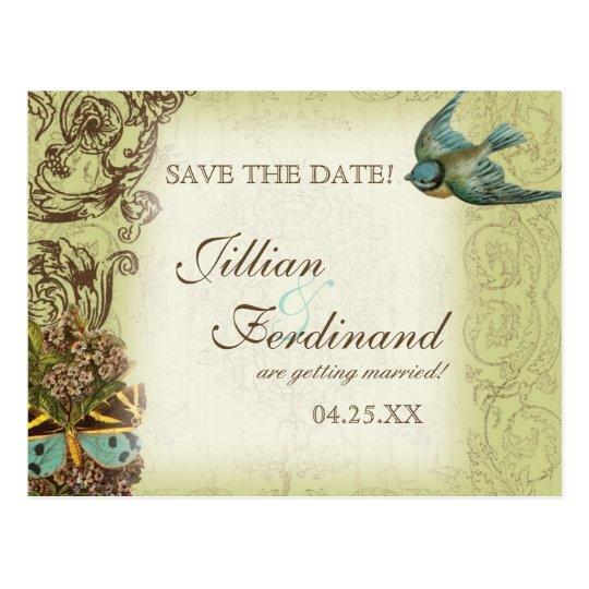 Botanica Wedding Postcard Save the Date - Green