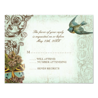 Botanica Wedding RSVP Response Card - Blue Green