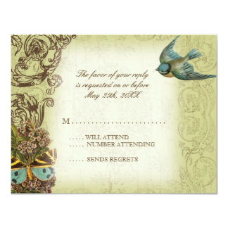 Botanica Wedding RSVP Response Card - Cream Tan