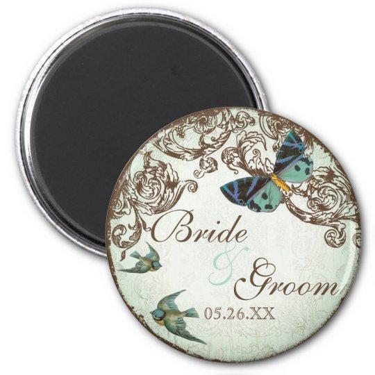 Botanica Wedding Save the Date Magnet - Aqua Blue