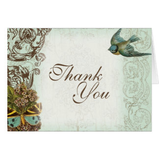 Botanica Wedding Thank You Note - Aqua Blue Card