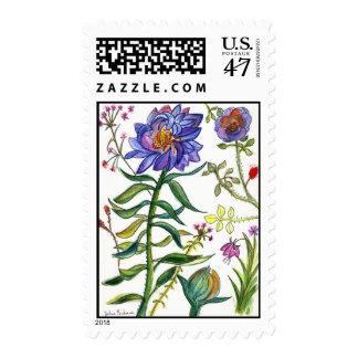 Botanical 55 Blue Flower Stamp