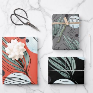 Botanical Abstract Pattern Wrapping Paper Sheets