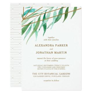 Botanical and Copper Geometric Wedding Card