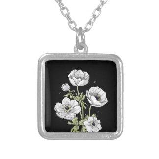 Botanical   Anemone White Flower Pendant