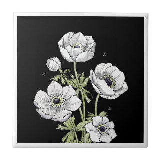 Botanical | Anemone White Flower Small Square Tile