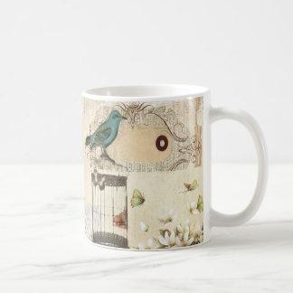 botanical art birdcage modern vintage french bird coffee mug