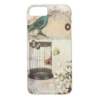 botanical art birdcage modern vintage french bird iPhone 8/7 case