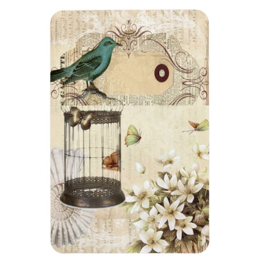 botanical art birdcage modern vintage french bird magnet