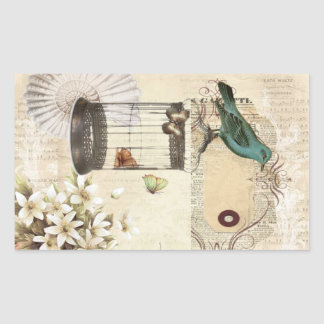 botanical art birdcage modern vintage french bird rectangular sticker