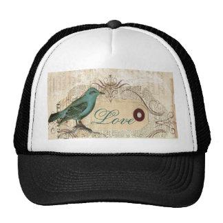 botanical art birdcage modern vintage french bird trucker hat