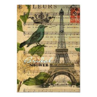botanical art french bird Paris Eiffel Tower Card