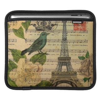 botanical art french bird Paris Eiffel Tower iPad Sleeve