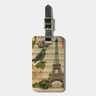 botanical art french bird Paris Eiffel Tower Luggage Tag