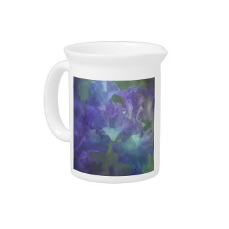Botanical art impressionism flower purple iris pitcher