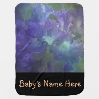 Botanical art impressionism flower purple iris swaddle blanket