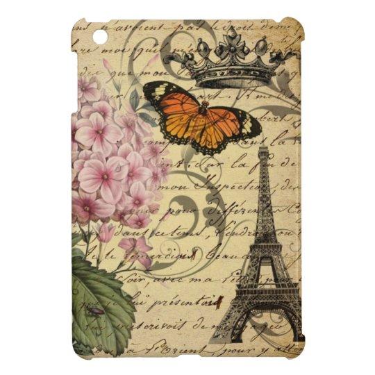 botanical art scripts hydrangea Paris Eiffel tower iPad Mini Cover
