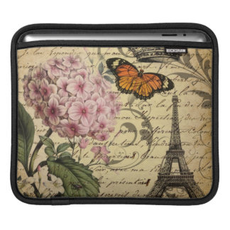 botanical art scripts hydrangea Paris Eiffel tower iPad Sleeve