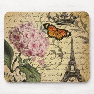botanical art scripts hydrangea Paris Eiffel tower Mouse Pad