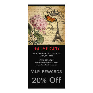 botanical art scripts hydrangea Paris Eiffel tower Rack Card