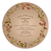 Botanical Autumn Round Wedding Invitation