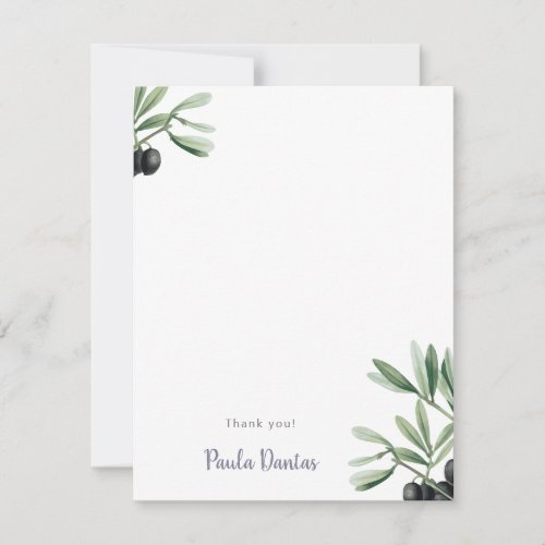 Botanical Baby Shower Greenery Olive Branch Simple Thank You Card