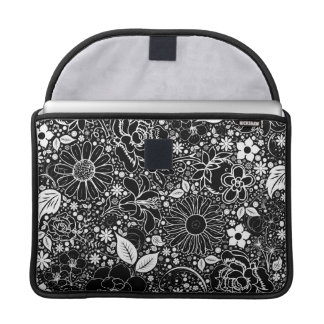 "Botanical Beauties Black Macbook Pro Sleeve 13"""