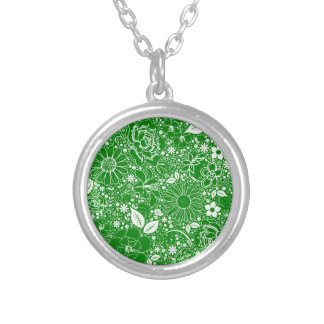 Botanical Beauties Green Silver Plated Necklace
