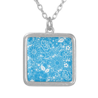 Botanical Beauties Light Blue Silver Plated Necklace