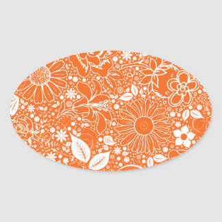 Botanical Beauties Orange OVAL STICKERS