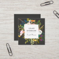 Botanical Bliss | Painted Floral | Dark Square Business Card