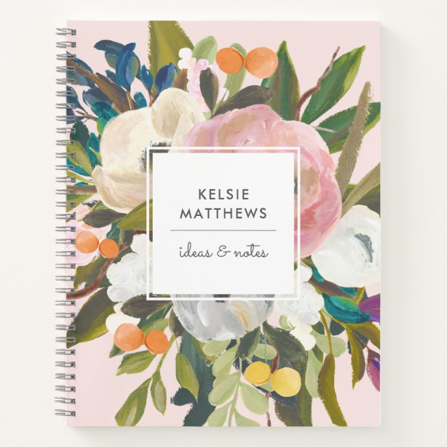 Botanical Bliss Pretty Painted Floral   Blush Notebook