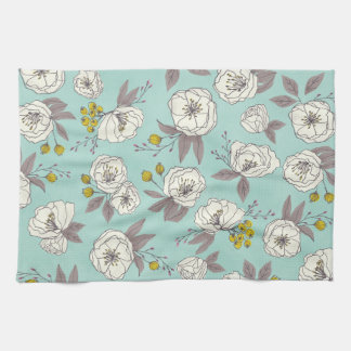 Botanical Blooms in Blue Hand Towel
