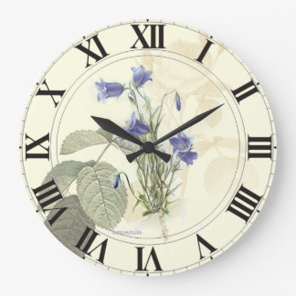 Botanical Blue Campanula clockface Large Clock