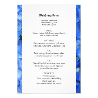 Botanical Blue Hydrangea Wedding Menu Template