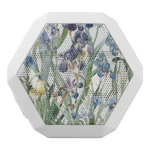 Botanical Blue Iris Flowers Floral Boombot White Bluetooth Speaker