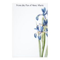 Botanical Blue Iris Flowers Floral Stationery