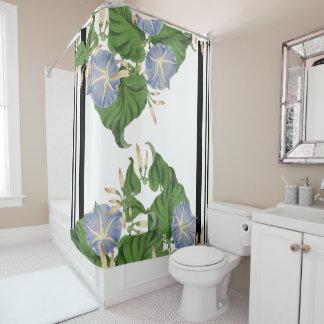 botanical blue morning glory flower floral stripes shower curtain
