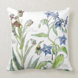 Botanical Borage Primrose Flowers Throw Pillow