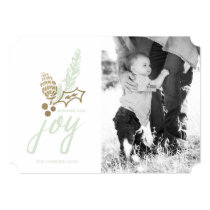 Botanical Bouquet Dotted Joy Holiday Photo Card