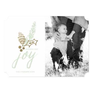 Botanical Bouquet Dotted Joy Holiday Photo Card