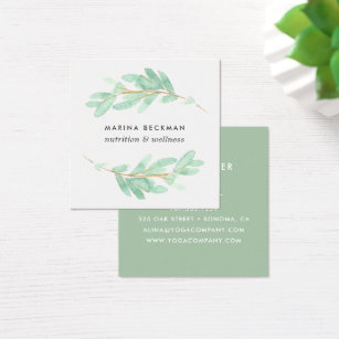 Nutrition business cards templates zazzle botanical branch square business card reheart Image collections