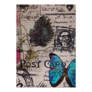 botanical butterfly burlap french country scripts card