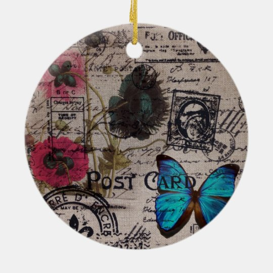 botanical butterfly burlap french country scripts ceramic ornament