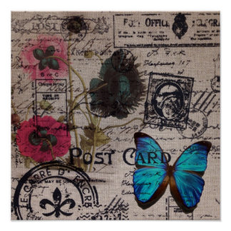botanical butterfly burlap french country scripts poster