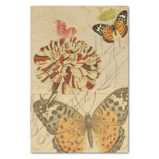 """Botanical Butterfly Collage 15"""" X 20"""" Tissue Paper"""