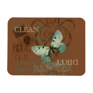 Botanical Butterfly Vintage Clean Dirty Dishwasher Rectangular Magnets
