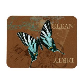 Botanical Butterfly Vintage Clean Dirty Dishwasher Vinyl Magnets