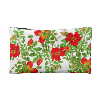 Botanical Cabbage Rose Flowers Floral Bag Cosmetics Bags